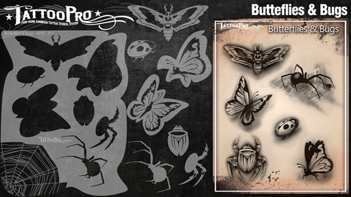 Tattoo Pro 113 - Body Painting Stencil - Butterfly & Bugs - Jest Paint Store