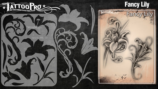 Tattoo Pro 114 - Body Painting Stencil - Fancy Lily - Jest Paint Store