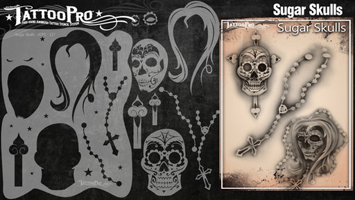 Tattoo Pro 117  - Body Painting Stencil - Sugar Skulls - Jest Paint Store
