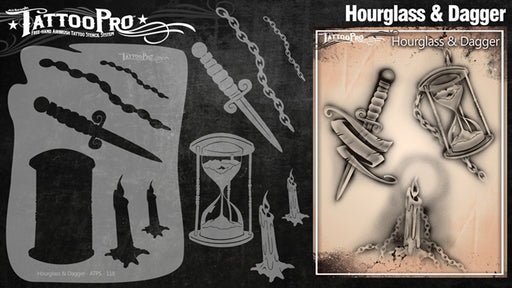 Tattoo Pro 118  - Body Painting Stencil - Hourglass & Dagger - Jest Paint Store