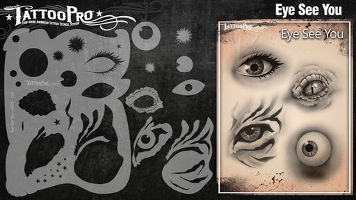 Tattoo Pro 119 - Body Painting Stencil - Eye See You - Jest Paint Store