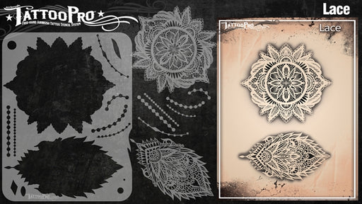 Tattoo Pro 120  - Body Painting Stencil -  Lace & Pearls - Jest Paint Store