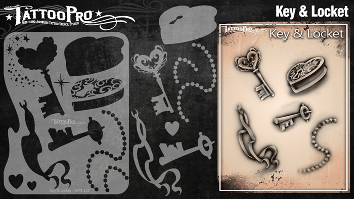 Tattoo Pro 123  - Body Painting Stencil - Key & Locket - Jest Paint Store