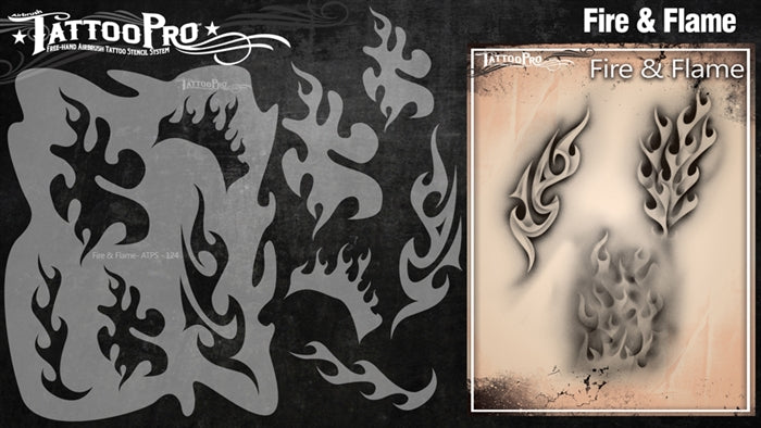Tattoo Pro 124 - Body Painting Stencil - Fire & Flame - Jest Paint Store