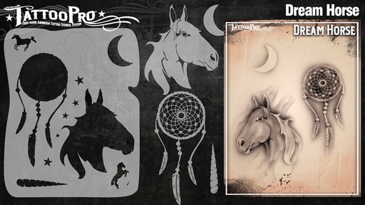 Tattoo Pro 134  - Body Painting Stencil - Dream Horse - Jest Paint Store