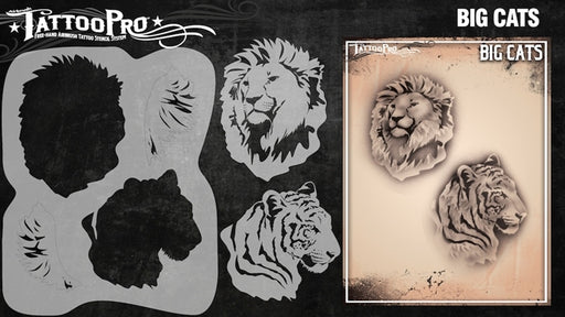 Tattoo Pro 133  - Body Painting Stencil - Big Cats - Jest Paint Store