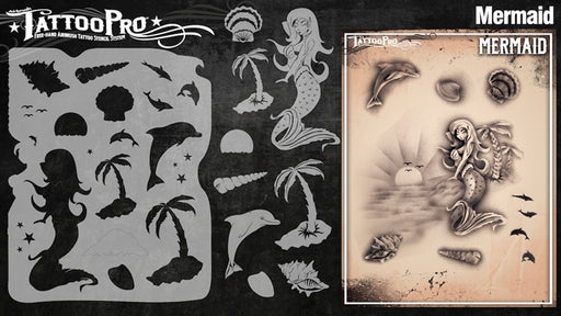 Tattoo Pro 128 - Body Painting Stencil - Mermaid's Cove - Jest Paint Store