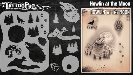 Tattoo Pro 127  - Body Painting Stencil - Howlin' at the Moon - Jest Paint Store