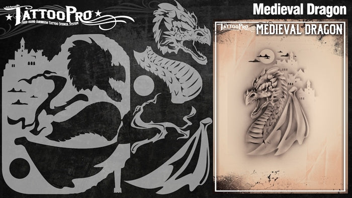 Tattoo Pro 126  - Body Painting Stencil - Medieval Dragon - Jest Paint Store
