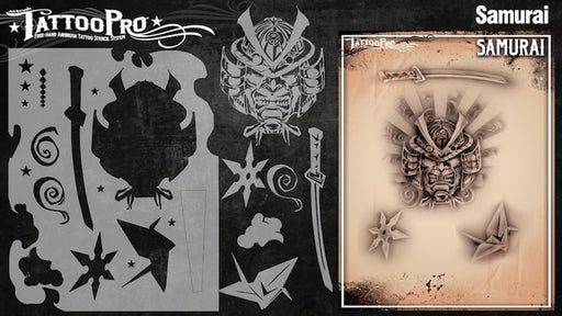 Tattoo Pro 125  - Body Painting Stencil - Samurai - Jest Paint Store