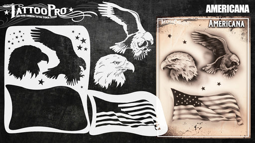 Tattoo Pro 137  - Body Painting Stencil - Americana - Jest Paint Store