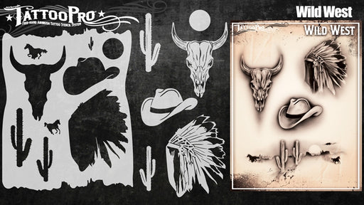 Tattoo Pro 141  - Body Painting Stencil - Wild West - Jest Paint Store