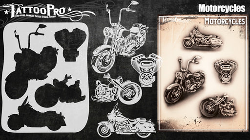 Tattoo Pro 142  - Body Painting Stencil - Motorcycles - Jest Paint Store