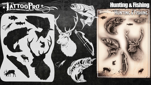 Tattoo Pro 143  - Body Painting Stencil - Hunting & Fishing - Jest Paint Store
