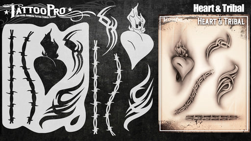 Tattoo Pro 144  - Body Painting Stencil - Heart & Tribal - Jest Paint Store