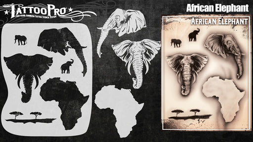Tattoo Pro 145 - Body Painting Stencil - African Elephant - Jest Paint Store