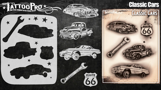 Tattoo Pro 147 - Body Painting Stencil - Classic Cars - Jest Paint Store