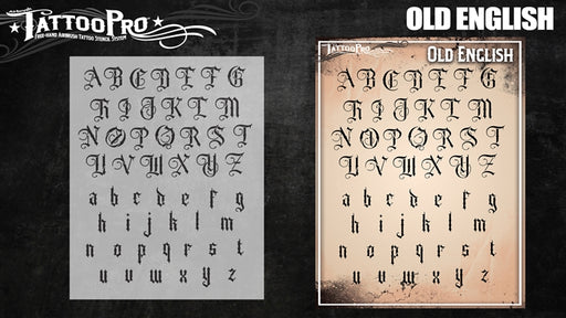 Tattoo Pro 205 - Body Painting Stencil - Old English Font - Jest Paint Store