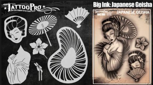 Tattoo Pro Big Ink 101 - Body Painting Stencil - Japanese Geisha - Jest  Paint Store 009a60a05ae