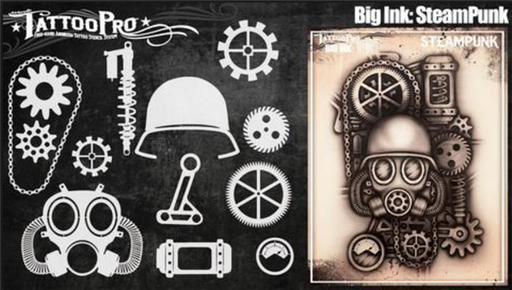 Tattoo Pro Big Ink 106 - Body Painting Stencil - Steampunk - Jest Paint Store