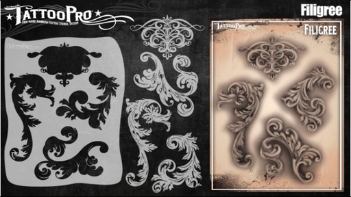 Tattoo Pro 150 - Body Painting Stencil - Filigree & Flair - Jest Paint Store