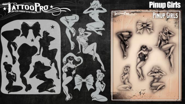 Tattoo Pro 149 - Body Painting Stencil - Pinup Girls - Jest Paint Store