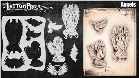 Tattoo Pro 153 | Air Brush Body Painting Stencil - Angels - Jest Paint Store
