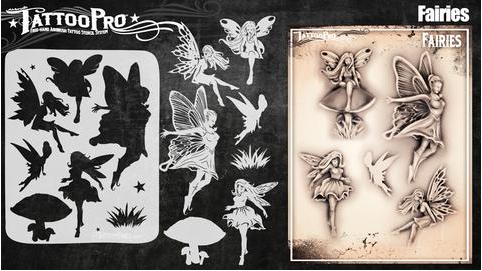 Tattoo Pro 157 | Air Brush Body Painting Stencil - Fairies - Jest Paint Store