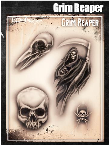 Tattoo Pro 159 | Air Brush Body Painting Stencil - Grim Reaper - Jest Paint Store