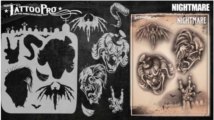 Tattoo Pro 172 | Air Brush Body Painting Stencil - Nightmare ( Scary Clowns )