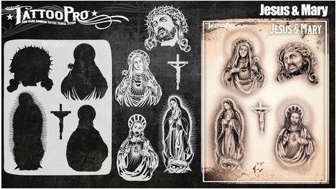 Tattoo Pro 155 | Air Brush Body Painting Stencil - Jesus and Mary