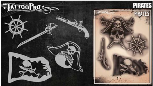 Tattoo Pro 165 | Air Brush Body Painting Stencil - Pirates