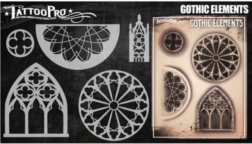 Tattoo Pro 162 | Air Brush Body Painting Stencil - Gothic Elements - Jest Paint Store