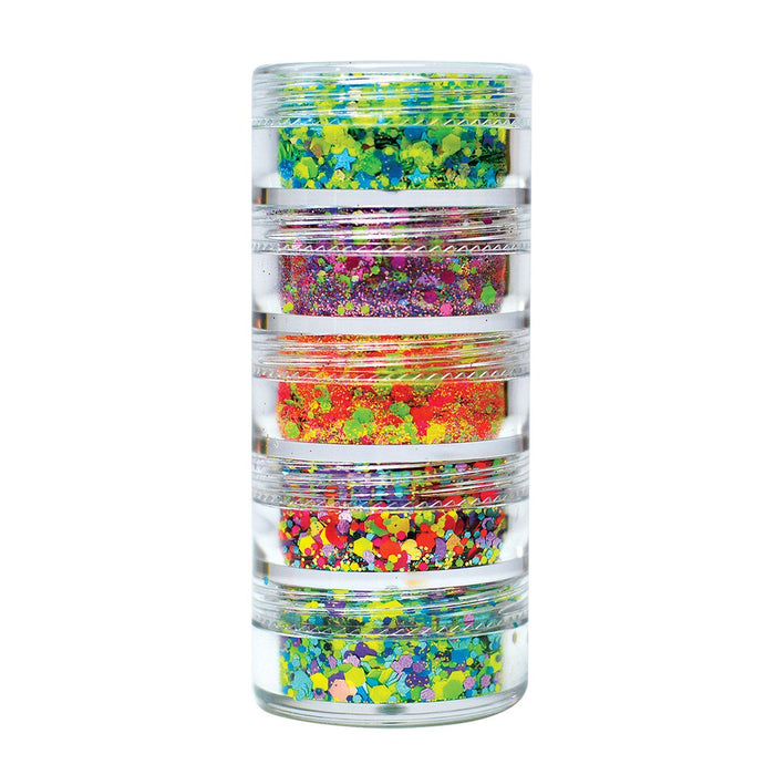 VIVID Glitter | Loose Chunky Hair and Body Glitter | Tropical Stack (Set of 5)