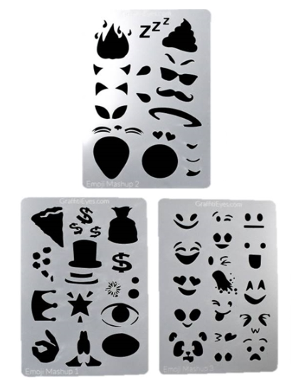Ultimate Graffiti Eyes Face Painting Stencils - Booster Pak Emoji Mash-up! - Jest Paint Store