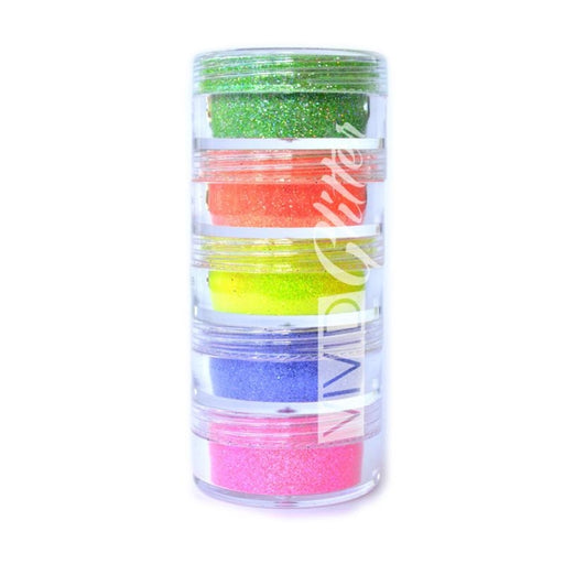 VIVID Glitter | Holographic Fine Glitter | Electric Rainbow Stack (Set of 5) - Jest Paint Store