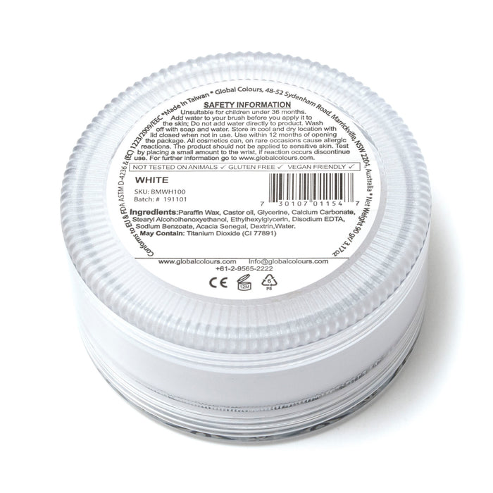 Global Body Art Face Paint | Standard White 90gr label ingredients