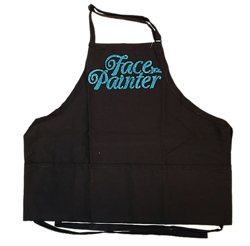 Face Painter Apron - Black with Aqua Letters - Jest Paint Store