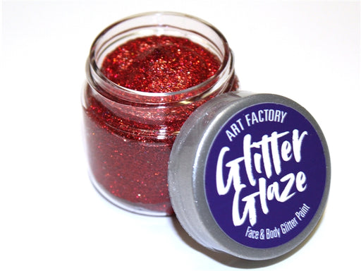 Art Factory | Glitter Glaze Face & Body Glitter Paint - Red (1 fl oz) - Jest Paint Store