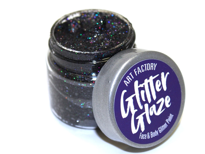 Art Factory | Glitter Glaze Face & Body Glitter Paint - Black (1 fl oz) - Jest Paint Store