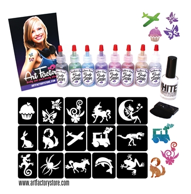 Art Factory | CELEBRATION Glitter Tattoo Kit with 60 Stencils - Jest Paint Store