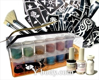 Ybody | Pro Ink and Glitter Tattoo Kit w/ Pop Up Cups and 100 Stencils - #1 - Jest Paint Store