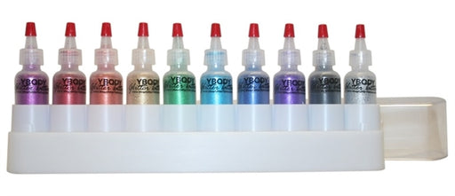 Art Factory | Glitter Set of 10 Poofer Bottles and Case - Rainbow Jewel Opaque Glitters - #11 - Jest Paint Store