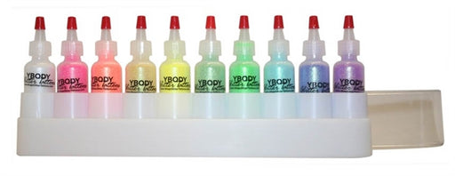 Art Factory | Glitter Set of 10 Poofer Bottles and Case - Rainbow Crystal Face Painting Glitter - #10 - Jest Paint Store
