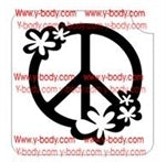 Glitter Tattoo Stencil - 55001 Floral Peace Sign  #49 - Jest Paint Store
