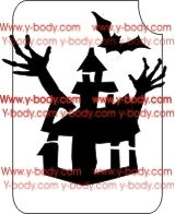 Glitter Tattoo Stencil - 854C Halloween Haunted House #44 - Jest Paint Store