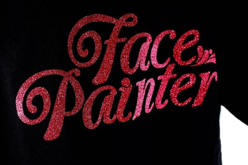 Face Painter Black T-Shirt with Rose Pink Glitter Print - Large (V-neck) - DISCONTINUE - Jest Paint Store