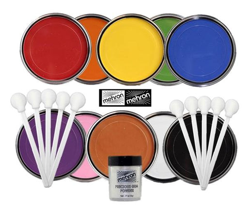 StarBlend Powder Face Paint By Mehron - Set of 10 Colors w/ Gem Powder and Smoothies - Jest Paint Store