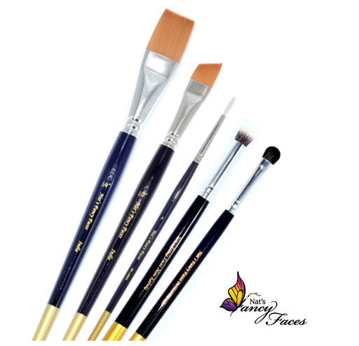 Nat's Fancy Faces Gold Edition Face Painting Brushes Bundle | Choose 3 or More Brushes and Save