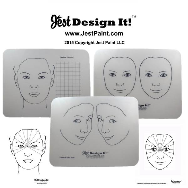 Jest Design It Face Painting Practice Board Kit (3 Boards) - Jest Paint Store